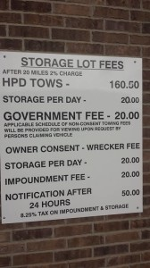 HPD Towing and Storage Fees